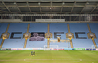 General view of the stadium with a banner of Jimmy Hill during the The Checkatrade Trophy - EFL Trophy Semi Final match between Coventry City and Wycombe Wanderers at the Ricoh Arena, Coventry, England on 7 February 2017. Photo by Andy Rowland.