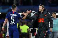 Chelsea's Jorginho and Chelsea Manager, Frank Lampard at the final whistle during Chelsea vs AFC Ajax, UEFA Champions League Football at Stamford Bridge on 5th November 2019