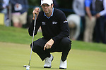 Bradley Dredge (WAL) lines up his putt on the 1st green during the Final Day of the BMW PGA Championship Championship at, Wentworth Club, Surrey, England, 29th May 2011. (Photo Eoin Clarke/Golffile 2011)