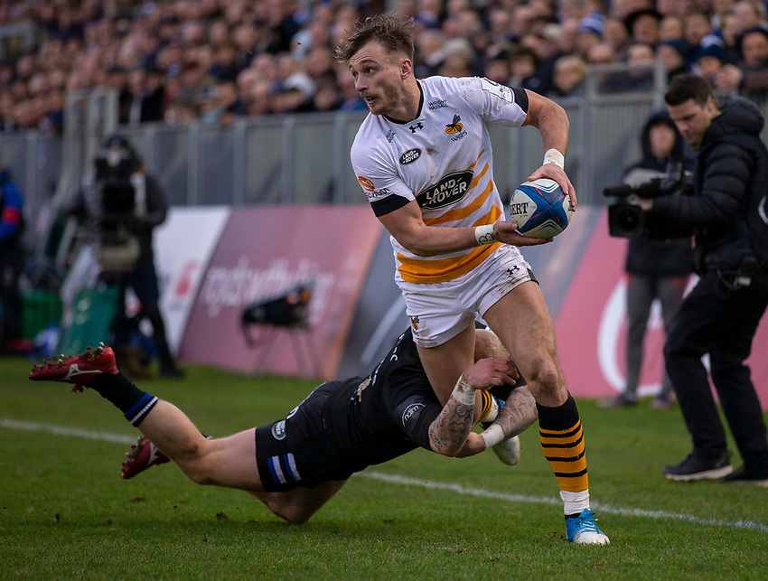 Wasps' Josh Bassett in action during todays match<br /> <br /> Photographer Bob Bradford/CameraSport<br /> <br /> European Rugby Heineken Champions Cup Pool 1 - Bath Rugby v Wasps - Saturday 12th January 2019 - The Recreation Ground - Bath<br /> <br /> World Copyright © 2019 CameraSport. All rights reserved. 43 Linden Ave. Countesthorpe. Leicester. England. LE8 5PG - Tel: +44 (0) 116 277 4147 - admin@camerasport.com - www.camerasport.com