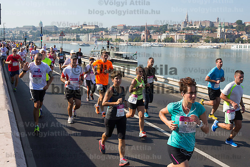 Participants run on a road on the bank of river Danube during the Budapest Half Marathon in Budapest, Hungary on September 13, 2015. ATTILA VOLGYI