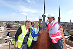 R &amp; M Williams<br /> Topping out at Four Elms Church in Cardiff.<br /> L-R: Beth Gamble, No Fit State Circus, Jenny Clemence and Kevin Sutton, Architects.<br /> <br /> 20.08.13<br /> <br /> &copy;Steve Pope-Fotowales