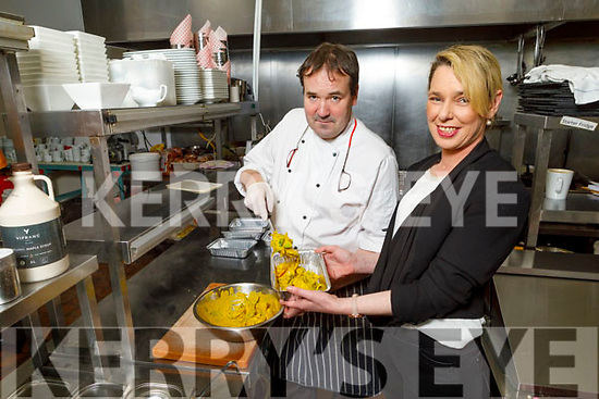 Chef Will Fitzgerald and Lisa Horgan preparing the take out meals in Benners Hotel.