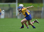 Bridin Dinan of Clare in action against Sinead Cannon of Galway during their Minor A All-Ireland final at Nenagh.  Photograph by John Kelly.