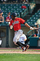 Indianapolis Indians outfielder Mel Rojas Jr. (3) at bat during a game against the Rochester Red Wings on June 10, 2015 at Frontier Field in Rochester, New York.  Indianapolis defeated Rochester 5-3.  (Mike Janes/Four Seam Images)