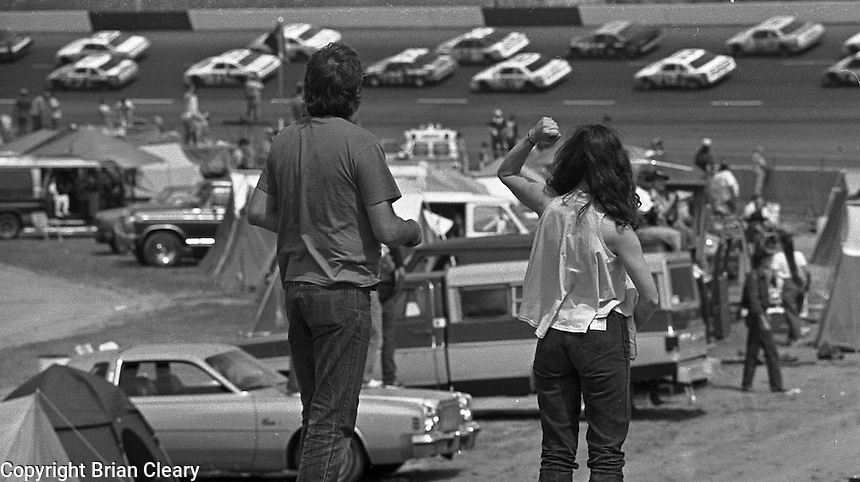 Fans watch the Transouth 500 at Darlington Raceway in Darlington, SC on March 20, 1988. (Photo by Brian Cleary/www.bcpix.com)