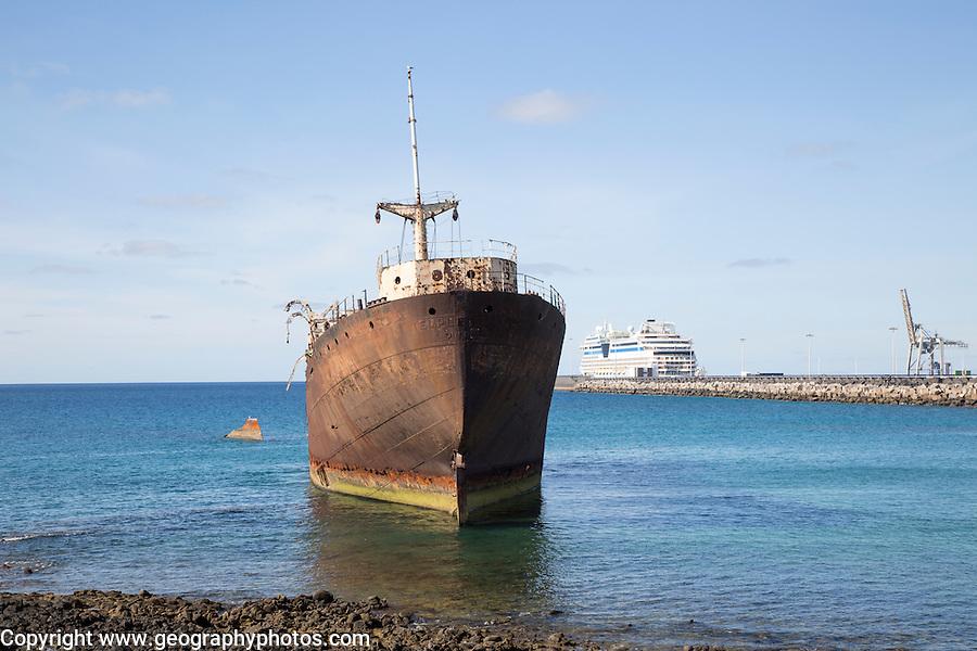 Shipwreck or Temple Hall or Telemon ship, Arrecife, Lanzarote, Canary Islands, Spain