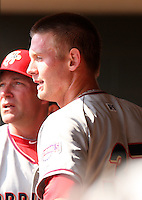 April 11, 2010:  First overall draft pick of the 2009 MLB Draft Stephen Strasburg (37) in the dugout after making his professional debut with the Harrisburg Senators, Double-A affiliate of the Washington Nationals, in a game vs. the Altoona Curve, affiliate of the Pittsburgh Pirates, at Blair County Ballpark in Altoona, PA.  Photo By Mike Janes/Four Seam Images