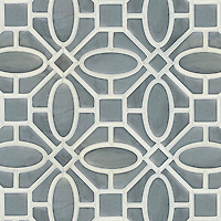 Maxwell, a waterjet stone and Serenity glass mosaic, shown in Venetian honed Bardiglio and Tropical White glass. Designed by Sara Baldwin Designs for New Ravenna.<br />