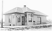 D&amp;RGW Hooper depot - in service - banner order board with lamp from northwest angle.  This depot was retired in 1955.<br /> D&amp;RGW  Hooper, CO  Taken by Jackson, Richard B. - 7/23/1940