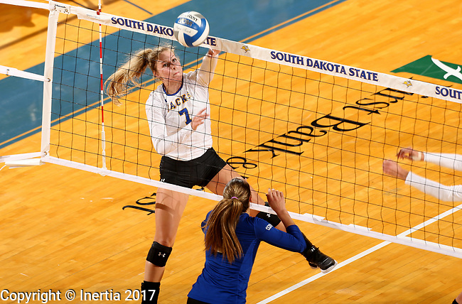 BROOKINGS, SD - SEPTEMBER 1: Mattison Munger #7 from South Dakota State University tips the ball over the net against CSU Bakersfield during their match Friday night at the Jackrabbit Invitational at Frost Arena in Brookings. (Photo by Dave Eggen/Inertia) (Photo by Dave Eggen/Inertia)