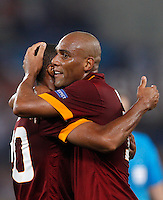 Calcio, Champions League, Gruppo E: Roma vs CSKA Mosca. Roma, stadio Olimpico, 17 settembre 2014.<br /> Roma defender Maicon, of Brazil, celebrates with teammate Seydou Keita, of Mali, left, after scoring during the Group E Champions League football match between AS Roma and CSKA Moskva at Rome's Olympic stadium, 17 September 2014.<br /> UPDATE IMAGES PRESS/Riccardo De Luca