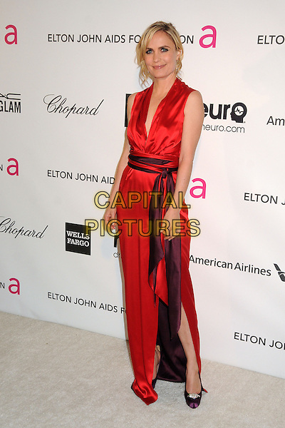 Radha Mitchell .21st Annual Elton John Academy Awards Viewing Party held at West Hollywood Park, West Hollywood, California, USA..February 24th, 2013.oscars full length dress slit split purple waistband red silk satin sleeveless  .CAP/ADM/BP.©Byron Purvis/AdMedia/Capital Pictures.