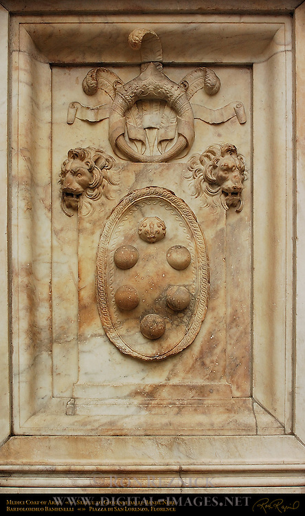 Medici Coat of Arms Relief Pedestal of Statue to Giovanni dalle Bande Nere Bandinelli Piazza San Lorenzo Florence