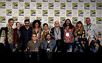 FX FEARLESS FORUM AT SAN DIEGO COMIC-CON© 2019: L-R Back Row: Writer/Producer/Cast Member Taika Waititi, Cast Member Evan Rachel Wood, Cast Member/Director/Writer/Producer Jemaine Clement, Writer/Co-Executive Producer Stefani Robinson, Cast Members Harvey Guillén, Mark Proksch, Kayvan Novak, Natasia Demetriou, and Visual Effects Supervisor Brendan Taylor, L-R Front Row: Executive Producer Paul Simms and Cast Member Matt Berry during the WHAT WE DO IN THE SHADOWS panel on Saturday, July 20 at SAN DIEGO COMIC-CON© 2019. CR: Frank Micelotta/FX/PictureGroup © 2019 FX Networks