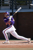 Shortstop Stan Widman (6) of the Clemson Tigers follows through on his swing versus the Wake Forest Demon Deacons during the second game of a double header at Gene Hooks Stadium in Winston-Salem, NC, Sunday, March 9, 2008.