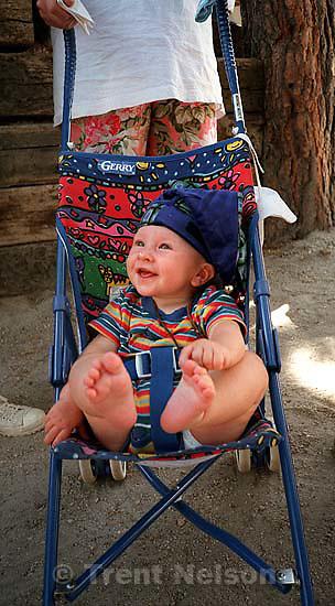 Noah Nelson in stroller<br />