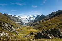Switzerland, Canton Valais, Val de Moiry above Grimentz at Val d'Anniviers: the Moiry Glacier (Glacier de Moiry) and the Dent Blanche, 4.357 m | Schweiz, Kanton Wallis, Val de Moiry oberhalb von Grimentz (im Val d'Anniviers): der Moirygletscher (Glacier de Moiry) und die Dent Blanche, 4.357 m |