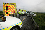 A two vehicle accident on the Slane side of the Slane M1 Interchange after the down pour of Rain on Thursday Evening, Two units of the Ambulance service attended the scene removing two casulty to Our Lady of Lourdes Hospital, They were backed up by two units of the Drogheda Fire Service..Photo: Newsfile/Fran Caffrey..