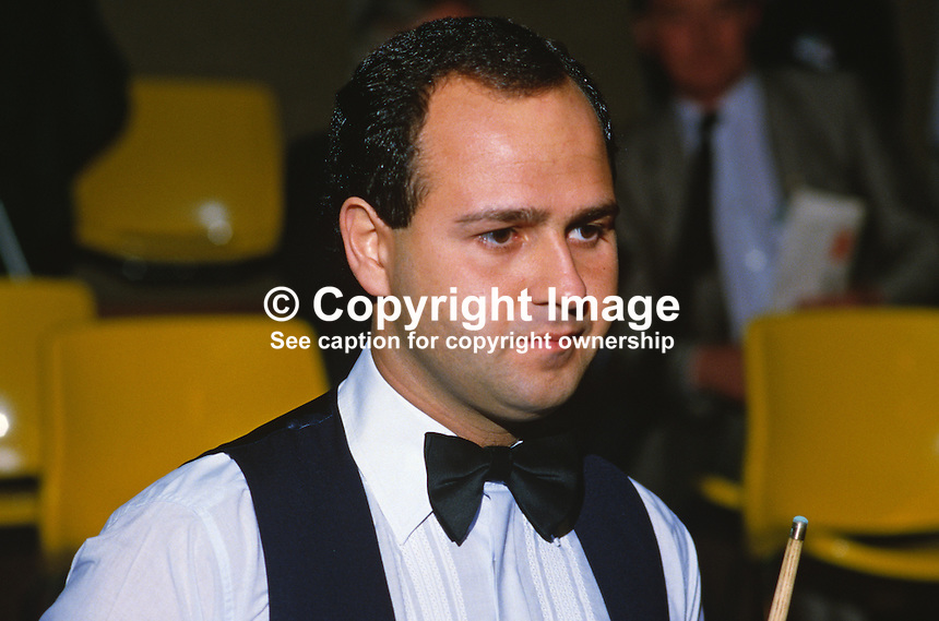 Tony Meo, England, professional snooker player, Irish Masters, Goffs, Rep of Ireland, 198503000032f..Copyright Image from Victor Patterson, 54 Dorchester Park, Belfast, UK, BT9 6RJ..Tel: +44 28 9066 1296.Mob: +44 7802 353836.Voicemail +44 20 8816 7153.Skype: victorpattersonbelfast.Email: victorpatterson@mac.com.Email: victorpatterson@ireland.com (back-up)..IMPORTANT: If you wish to use this image or any other of my images please go to www.victorpatterson.com and click on the Terms & Conditions. Then contact me by email or phone with the reference number(s) of the image(s) concerned.