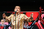Japanese comedian and singer-songwriter Pikotaro performs during the launch event for Y!mobile's spring promotions on January 18, 2017, Tokyo, Japan. Y!mobile announced its new mobile devices (MediaPad T2 Pro, Pocket Wifi 603HW, Android One S1 and S2) and discount promotions for young users from January 20. (Photo by Rodrigo Reyes Marin/AFLO)