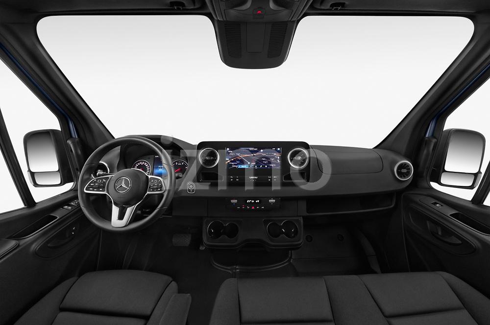 Stock photo of straight dashboard view of 2019 Mercedes Benz Sprinter-Fourgon - 4 Door Cargo Van Dashboard