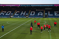 The Fleetwood Town team check the pitch before the Sky Bet League 1 match between Rochdale and Fleetwood Town at Spotland Stadium, Rochdale, England on 20 March 2018. Photo by Thomas Gadd.