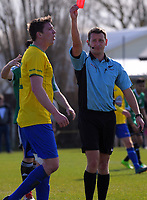 Cashmere's Tom Schwartz is sent off during the Chatham Cup football semifinal between Cashmere Technical and Onehunga Sports at Garrick in Christchurch, New Zealand on Sunday, 27 August 2017. Photo: Dave Lintott / lintottphoto.co.nz