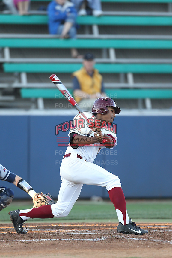Billy Wilson (4) of the Loyola Marymount Lions bats during a game against the Gonzaga Bulldogs at Page Stadium on March 27, 2015 in Los Angeles, California. Loyola Marymount defeated Gonzaga 6-5.(Larry Goren/Four Seam Images)