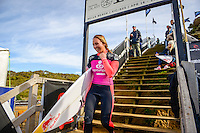 Bells Beach, Torquay Victoria, Australia. (Wednesday April 23, 2014) Carissa Moore (HAW) &ndash;  The 2014  Rip Curl Pro at Bells Beach wrapped up today with the completion of men's and women's events in clean 4' surf at Bells Beach and Winki Pop. Australia's Mick Fanning claimed Bell number 3 with his win over Taj Burrow (AUS) in the final held at Winki Pop while Hawaiian Carissa Moore   defeated Tyler Wright (AUS). The men's semi's and final were moved to Winki when high tide conditions made surfing at Bells difficult. <br /> Photo: joliphotos.com