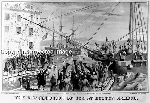 The Destruction of Tea at Boston Harbor.  1773.  copy of lithograph by Sarony & Major, 1846. (George Washington Bicentennial Commission)<br />Exact Date Shot Unknown<br />NARA FILE #:  148-GW-439<br />WAR & CONFLICT #:  3