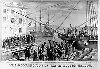 The Destruction of Tea at Boston Harbor.  1773.  copy of lithograph by Sarony & Major, 1846. (George Washington Bicentennial Commission)<br />