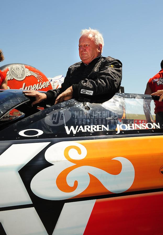 May 30, 2009; Topeka, KS, USA: NHRA pro stock driver Warren Johnson during qualifying for the Summer Nationals at Heartland Park Topeka. Mandatory Credit: Mark J. Rebilas-