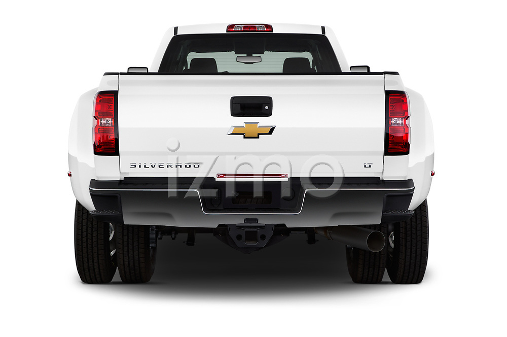 Straight rear view of 2017 Chevrolet Silverado-3500HD LT-Crew-DRW 4 Door Pickup Rear View  stock images