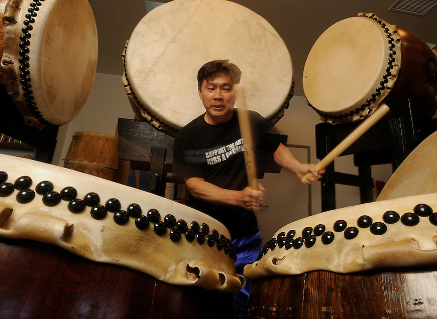 Renowned taiko drummer Koji Nakamura practices at the Shumei International Institue in Crestone, CO. Michael Brands for The New York Times.