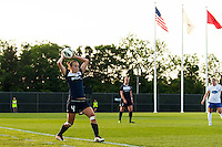 Sky Blue FC defender Caitlin Foord (4) on a throw in. Sky Blue FC defeated the Boston Breakers 5-1 during a National Women's Soccer League (NWSL) match at Yurcak Field in Piscataway, NJ, on June 1, 2013.