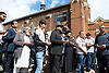 Ali Jafari's funeral prayers  <br /> Mr Ali Jafari, aged 82,  died following the fire at Grenfell Tower,<br /> 14th July 2017 <br />  Hussaini Islamic Mission, Thornbury Road, Isleworth, <br /> <br /> Mr Jafari's three sons and family in prayers outside mosque <br /> <br /> Bashir Jafari <br /> <br /> Hamid Jafari <br /> <br /> Farid Jafari <br /> <br /> <br /> Photograph by Elliott Franks <br /> Image licensed to Elliott Franks Photography Services
