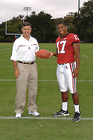7 August 2006: Stanford Cardinal head coach Walt Harris and Carlos McFall during Stanford Football's Team Photo Day at Stanford Football's Practice Field in Stanford, CA.