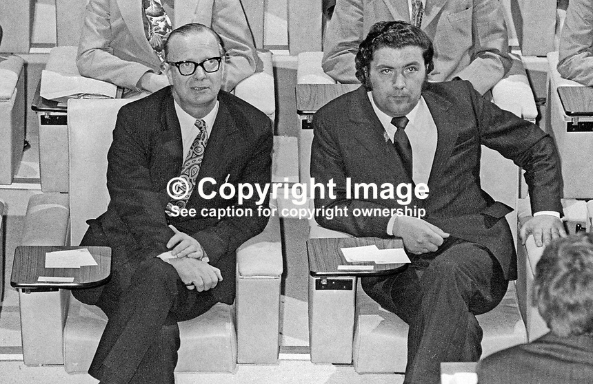 N Ireland Assembly - first meeting of the newly-elected members - 31st July 1973 - SDLP leader Gerry Fitt, left, with his deputy, John Hume. 197307310523a<br />