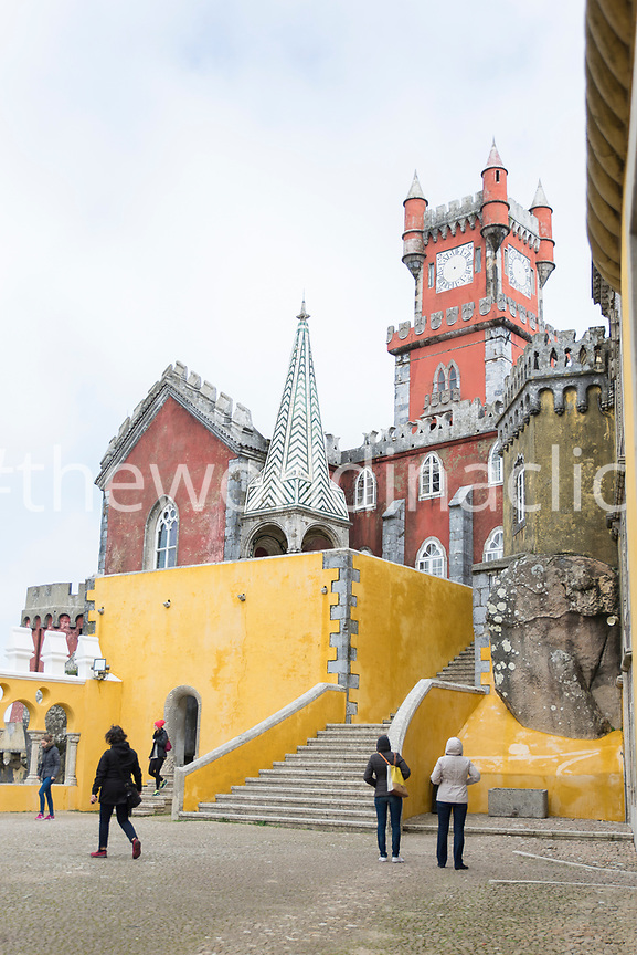 PORTUGAL, Sintra, Visitors at the Pena Palace