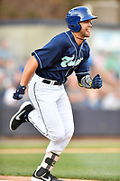 Asheville Tourists first baseman Johnny Cresto (17) runs to first base during a game against the Augusta GreenJackets at McCormick Field on April 6, 2019 in Asheville, North Carolina. The Tourists defeated the GreenJackets 6-3. (Tony Farlow/Four Seam Images)
