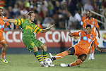 22 September 2012: Tampa Bay's Daniel Scott (22) and Carolina's Amir Lowery (right). The Carolina RailHawks played the Tampa Bay Rowdies to a 0-0 tie at WakeMed Soccer Stadium in Cary, NC in a 2012 North American Soccer League (NASL) regular season game.