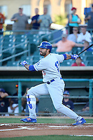 Andre Ethier (17) of the Rancho Cucamonga Quakes, on a rehab assignment for the Los Angeles Dodgers, bats against the Lancaster JetHawks at The Hanger on September 1, 2016 in Lancaster, California. Rancho Cucamonga defeated Lancaster, 6-3. (Larry Goren/Four Seam Images)