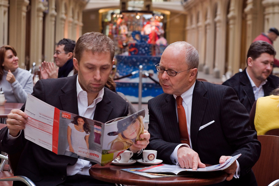 Moscow, Russia, 06/02/2007..Pascal Clement of PPE and Rolf Schaefer of Otto in the GUM department store on Red Square.