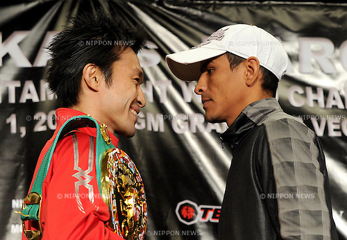 (L-R) Toshiaki Nishioka (JPN), Rafael Marquez (MEX),.OCTOBER 1, 2011 - Boxing :.Toshiaki Nishioka of Japan and Rafael Marquez of Mexico face off during the press conference for their title bout which will take place on October 1 at MGM Grand in Las Vegas, Nevada, United States. (Photo by Naoki Fukuda/AFLO)2011101MGMWBC    12R  Rafael Marquez2