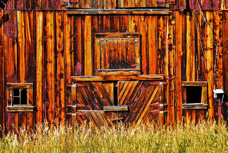 Texture and design of the side of an old barn in Montana.