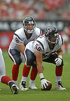 Aug 18, 2007; Glendale, AZ, USA; Houston Texans quarterback Matt Schaub (8) takes the snap from center Mike Flanagan (58) against the Arizona Cardinals at University of Phoenix Stadium. Mandatory Credit: Mark J. Rebilas-US PRESSWIRE Copyright © 2007 Mark J. Rebilas