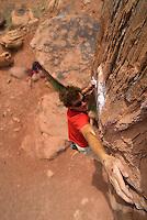 Bouldering along the Colorado River, near Moab, Utah, South East Utah,