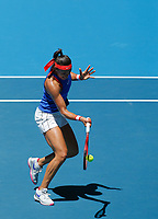 9th November 2019; RAC Arena, Perth, Western Australia, Australia; Fed Cup by BNP Paribas Tennis Final, Day 1, Australia versus France; Caroline Garcia of France plays a forehand shot against Ash Barty of Australia during the second rubber