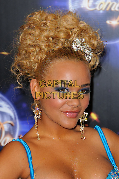 Chelsee Healey.Strictly Come Dancing launching event held at the BBC Studios. London, England..September 7th, 2011.headshot portrait blue cleavage top star earrings dangling hair up accessory silver eyeshadow make-up beauty.CAP/CJ.©Chris Joseph/Capital Pictures.